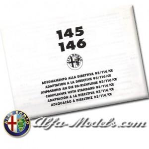 Alfa Romeo 145/146 compliance 93/116 CE
