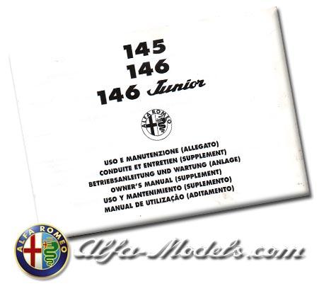 Alfa Romeo 145 /146 / 146 Junior Owners Manual Supplement